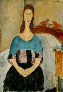 Amedeo_Modigliani_-_Portrait_of_Jeanne_Hebuterne,_Seated,_1918_-_Google_Art_Project