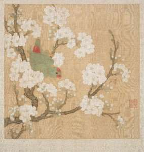 Huang_Jucai_-_Parrot_and_insect_among_pear_blossoms_-_Google_Art_Project